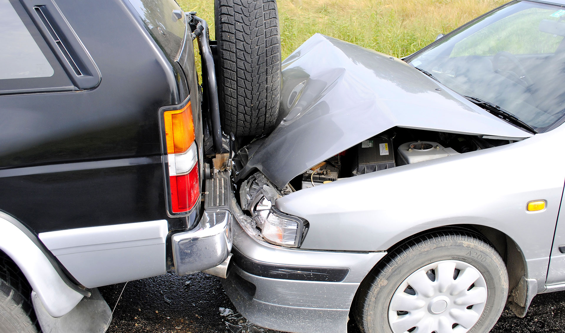 A car in a rear-end collision.
