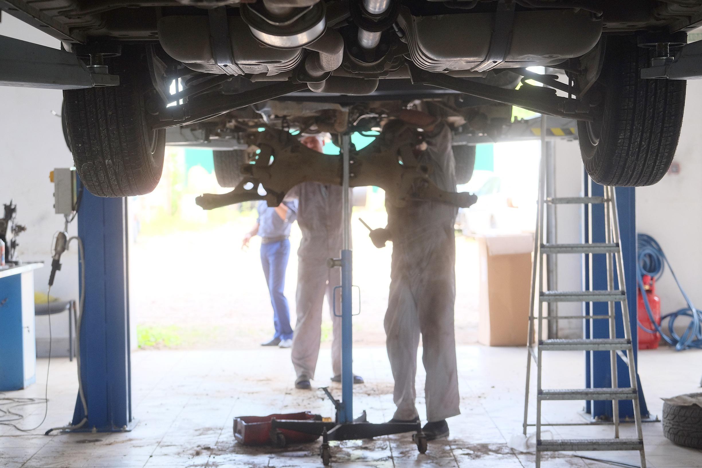 Interior of a car repair station